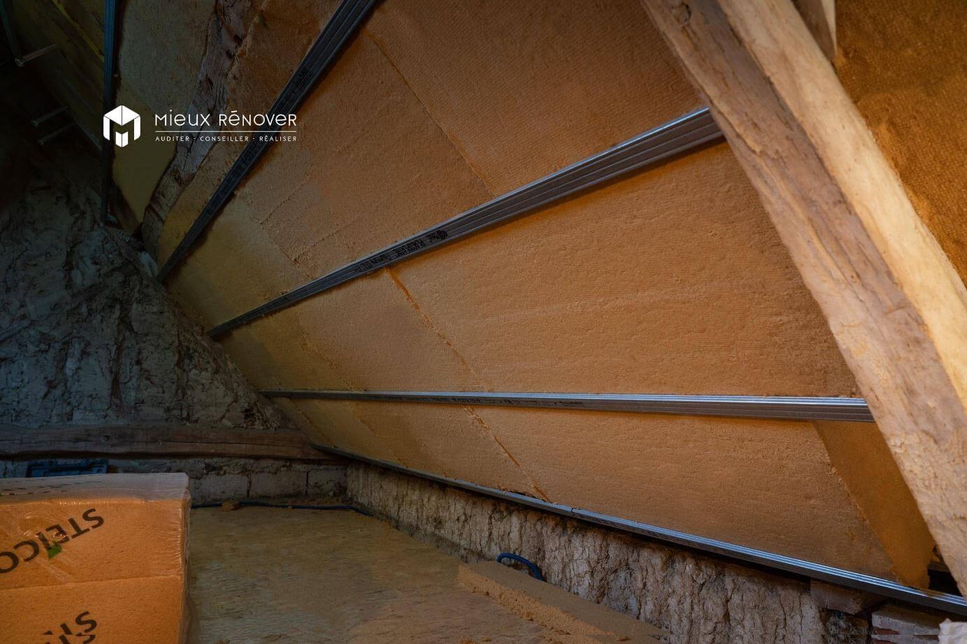 isolation des rampants à la fibre de bois